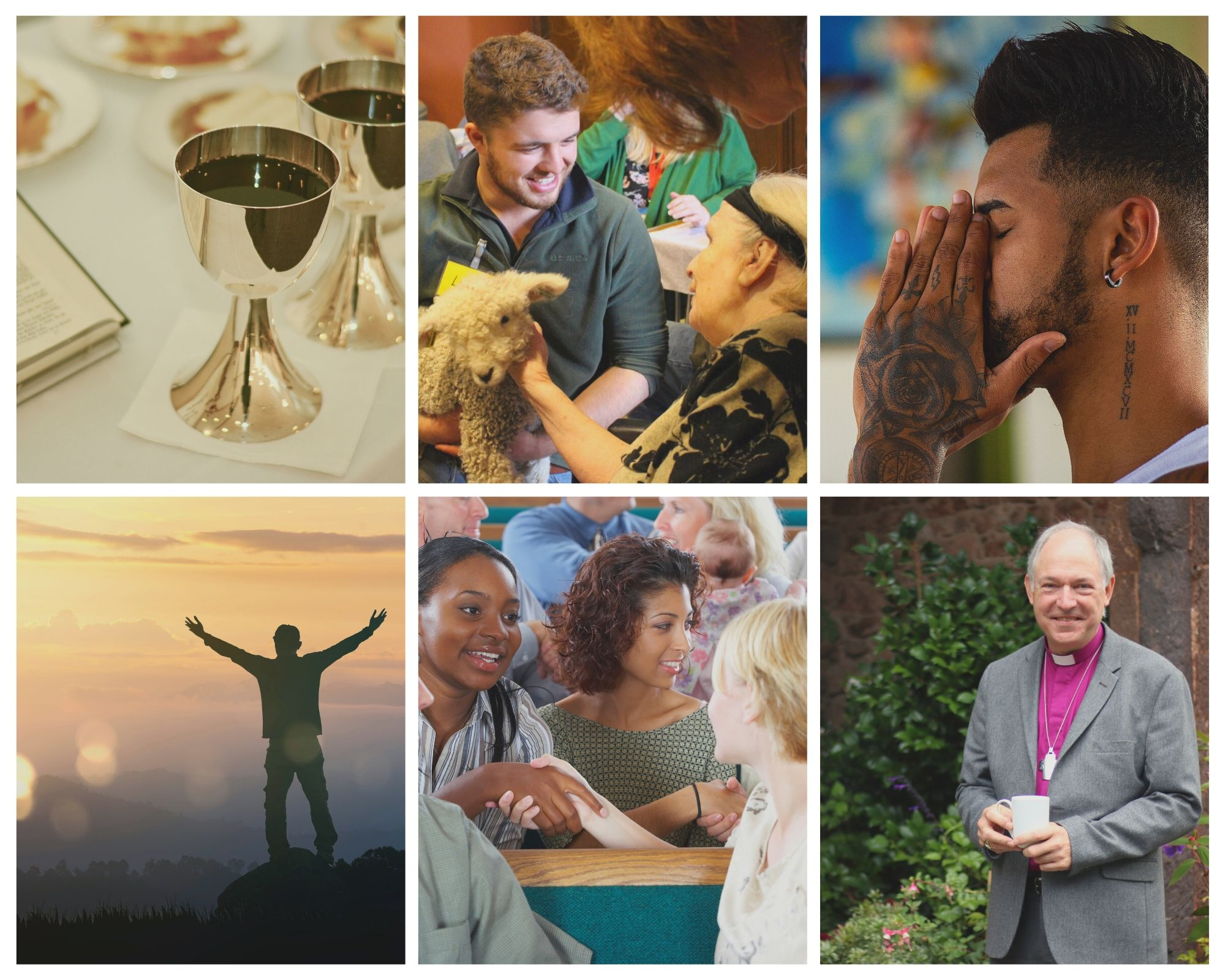 A collage of images showing a communion cup, a man praying and some women chatting in church