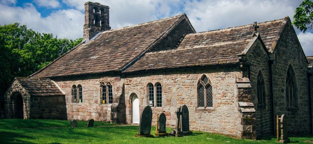A rural English church in the sunshine