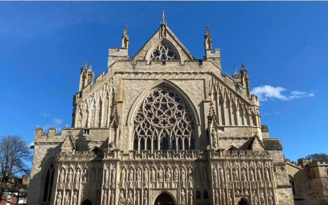 Sewing their support: Exeter Cathedral tapisers making NHS scrubs