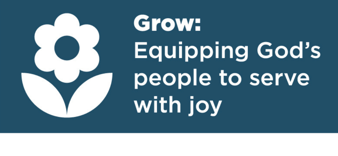 Logo for Grow showing image of white flower on a blue background