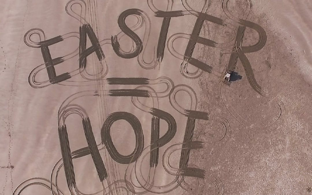 Easter Message of Hope Carved Into Bigbury Beach on South Devon Coast